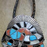 Native American Vintage Sterling Rainbow Man Bolo Tie TLC