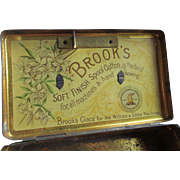 Antique Toleware Sewing Tin Advertising Brooks Spool Cotton