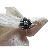 Vintage 14k White Gold Diamond and Sapphire Ring  September Birthstone