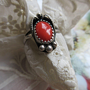 Native American Sterling Coral Ring