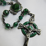 Vintage Sterling Enameled Green Rosary   Credo In Unum Deum Celtic Crucifix