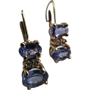 Vintage 14K Tanzanite and Diamond Earrings December Birthstone
