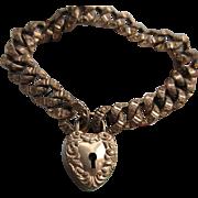 Victorian Curbed Link Padlock Bracelet in Gold Fill