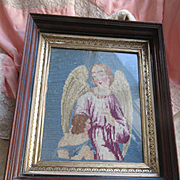 Victorian Framed Guardian Angel Needlepoint