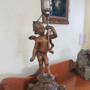 Art Nouveau Spelter Angel Lamp  TLC
