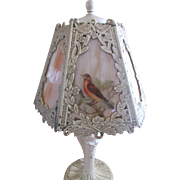 Antique Cast Art Nouveau Slag Glass Boudoir Lamp Circa 1915