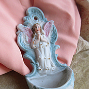 Old Bisque Holy Water Font Guardian Angel
