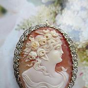 Vintage 1920s 10K White Gold Cameo Pin Pendant