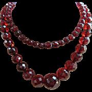 Art Deco Cherry Amber Prystal Bakelite Faceted Bead Necklace