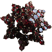 Antique Bohemian Garnet Star Pin