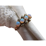 Victorian 10K Opal and Rose Cut Diamond Ring