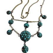 Antique Edwardian 10K Pave Turquoise Festoon Necklace