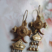Victorian Gold Fill Enameled Dangle Drop Pierced Earrings Enameled Antique Pierced Earrings