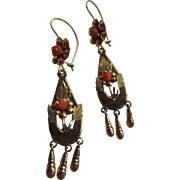Victorian 10K Coral Pierced Earrings