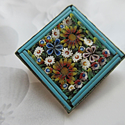 Antique Micro Mosaic Floral Pin