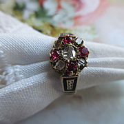 Victorian 10K Ruby and Rose Cut Diamond Ring