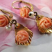 Vintage 18K Estate Coral Cultured Pearl Pierced Earrings, European Coral Earrings