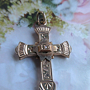 Victorian Cross Religious Pendant in Gold Fill