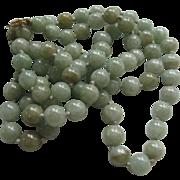 Vintage Natural Jade Necklace 14K Clasp 27''