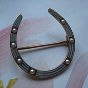 Antique Riker Brothers Enameled Horseshoe Pin 14K Equestrian jewelry