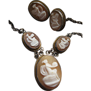 Vintage Deco Sterling Cameo Necklace and Earrings Mythological