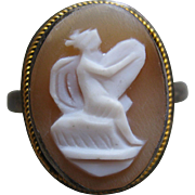 Deco Sterling Carved Shell Cameo Ring