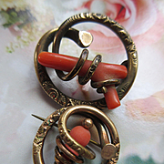Victorian Coral Scatter Pins in Gold Fill Good Luck Talisman