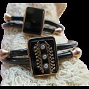 Victorian Black Enameled Pair Of Bracelets