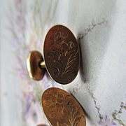 Victorian Floral Gold Fill Cufflinks Bespoke Accessory