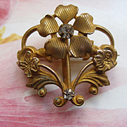Victorian Floral Watch Pin