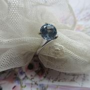Vintage MCM Blue Zircon 10K White Gold Ring