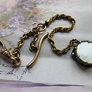 Antique Watch Chain Mother of Pearl Tambourine Fob Charm