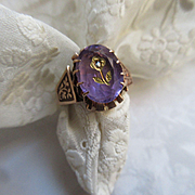 Victorian 10K Rose Of Sharon Ring Amethsyt and Rose Cut Diamond