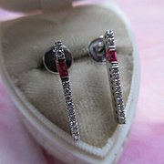 Ruby Diamond 14K White Gold Pierced Earrings, New Old Stock