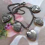 Vintage 1940s Sterling Heart Charm Bracelet, Walter Lampl Heart Charms
