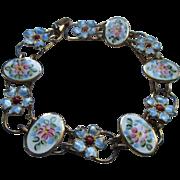 Vintage Sterling Enameled Bracelet Pretty Florals