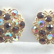 Sparkling Vintage Brown and Aurora Borealis Rhinestone Earrings