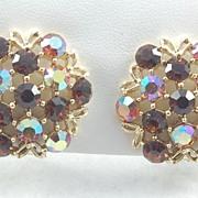 Sparkling Vintage Brown and Aurora Borealis Rhinestone Earrings