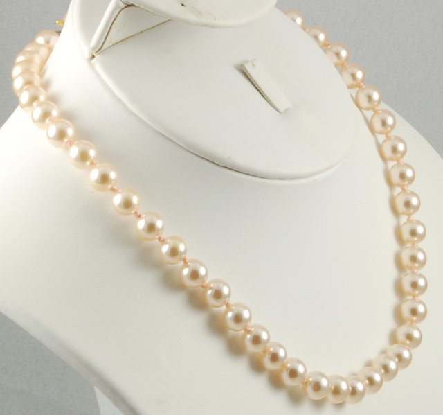 Elegant Vintage Pink Glass Bead Faux Pearl Necklace