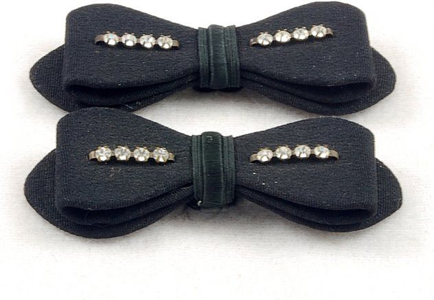 Sweet Vintage Rhinestone Black Fabric Bow Shoe Clips