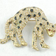 Sleek Vintage Rhinestone Black Enamel Cat Leopard Brooch Pin