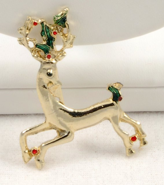 Vintage Christmas Green Red Enamel Berry Holly Reindeer Pin Brooch
