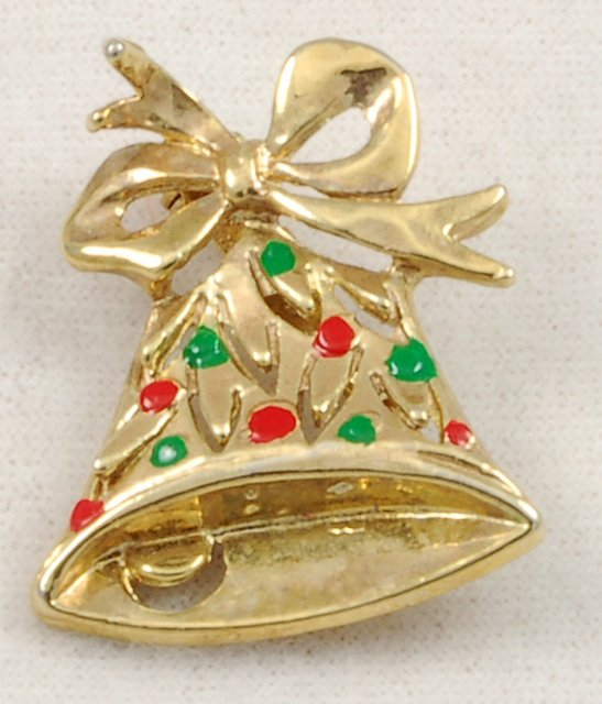 Adorable Vintage Aiwan Green Red Enamel Bell Bow Christmas Pin Brooch