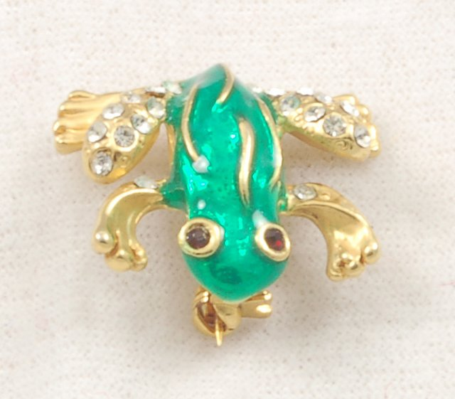 Adorable Vintage Green Enamel Rhinestone Frog Pin Brooch