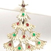 Vintage Gerry's Green Red Enamel Christmas Tree Pin Brooch