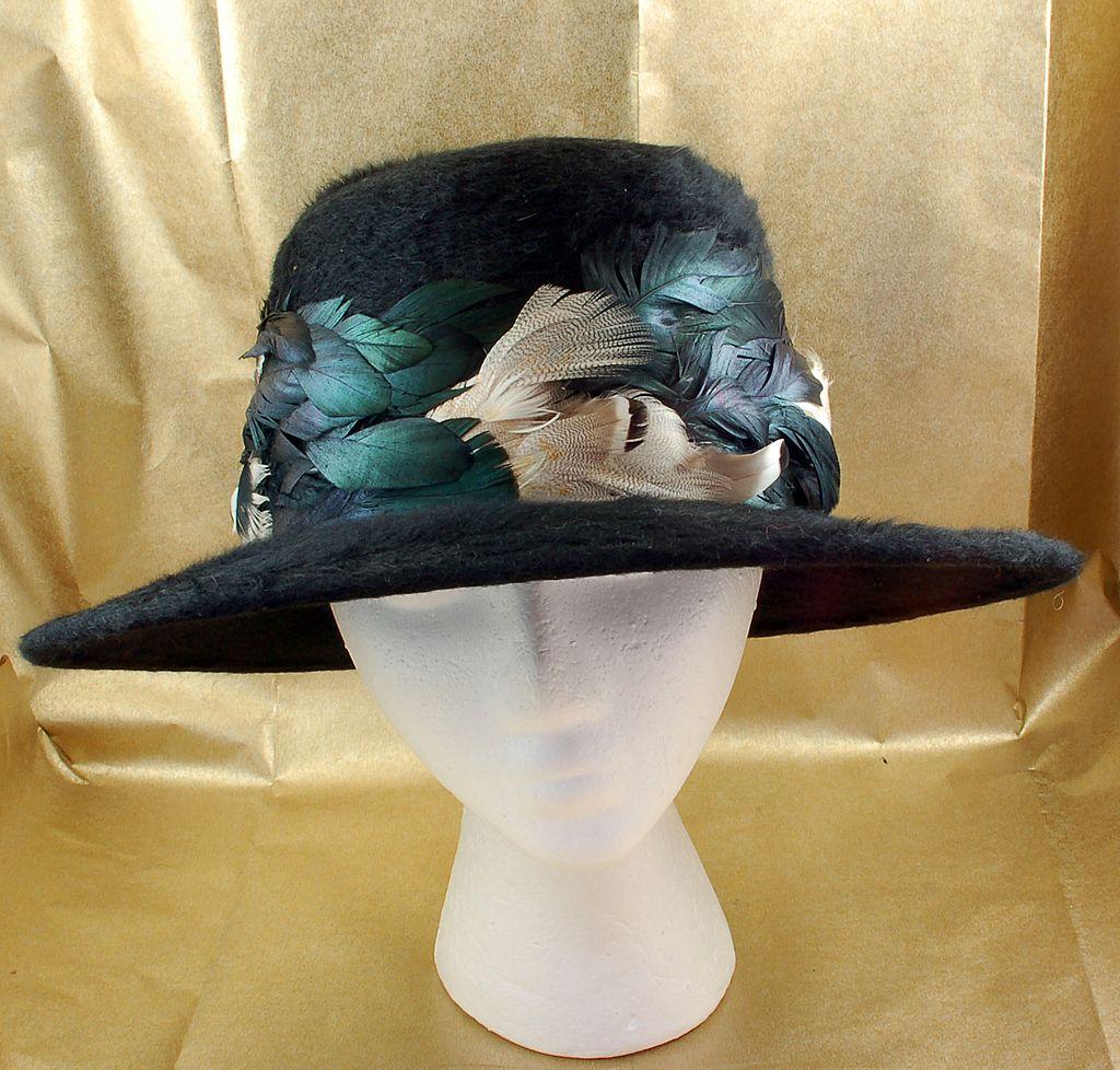 Vintage 1960's Henry Margu Black Pheasant Feathers Hat