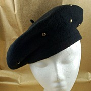 Vintage Black Wool Beret Hat