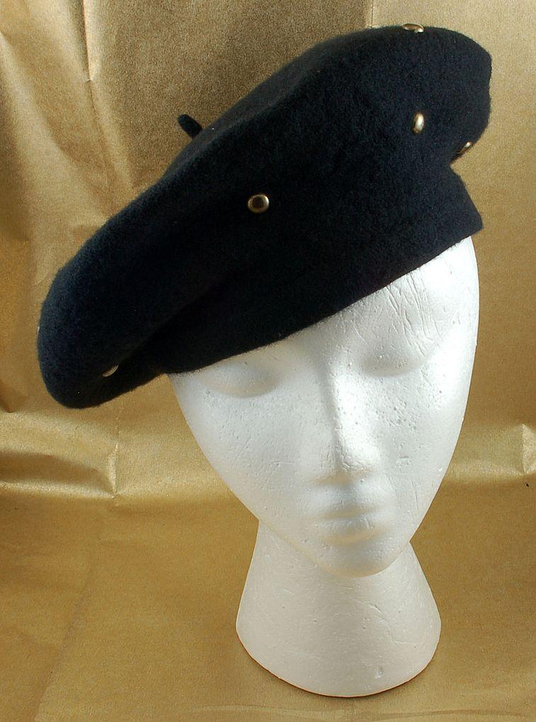Vintage Black Wool Beret Hat