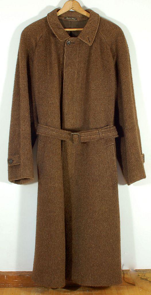 Vintage 1970's Giorgio Armani 100% Alpaca Brown Men's Coat Overcoat Topcoat