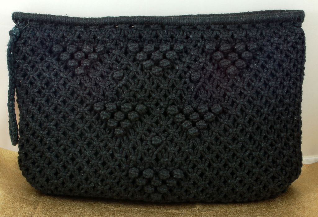Vintage Knit Crocheted Black MCI Purse Handbag Clutch